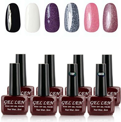 Gellen Soak Off Gel Uv Led Gel Each Mixed Colors + Top Base Coats Set Nail Art Manicure Selective Collection 01 8 ml