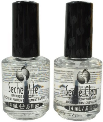 Seche Vite Dry Fast Top Coat/ Clear Crystal Clear Base Coat Duo Misc 14 ml