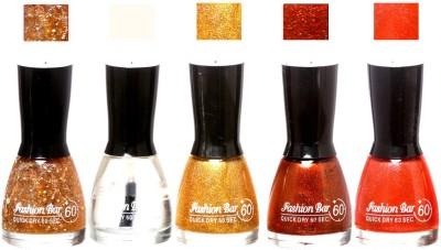 Fashion Bar Glitter Gold ,Top ,Shimmer Gold ,Shimmer Dark Maroon,Shimmer OrangeShades Nail Polish 145341 45 ml