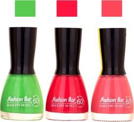 Fashion Bar Glowing Color Shades New Ultra Smooth Nail Polish Combo 1018 27 ml(GREEN , RED , PINK)