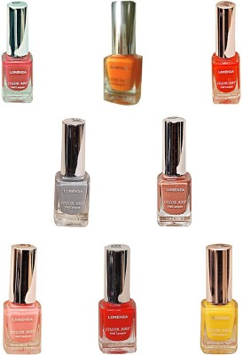 Lorenza Combo Set-3 Nail Lacquer (Pack Of 8) 15 ml