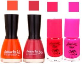 Fashion Bar Denim Color Crush Orange ,Lite Mehroon ,Mazanta ,purple PackOF 4 Nail Polish 10252 28 ml(Orange ,Lite Mehroon ,Mazanta ,purple)