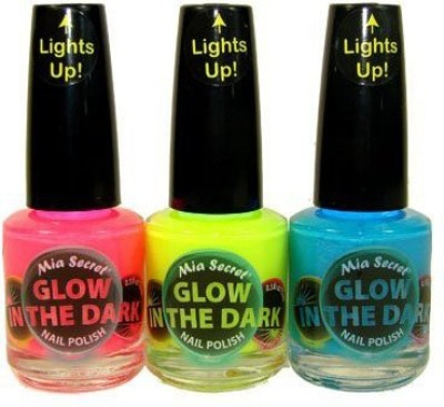 Mia Secret Glow In The Dark Neon Set Neon Blue Neon Hot Pink Neon Yellow Bottles 15 ml