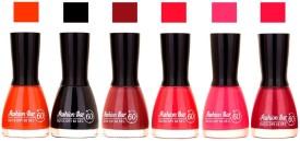 Fashion Bar Long Stay Pack of 6 Unique Nail Polish Combo 330 54 ml(orange , black ,redish brown , redish pink ,Neon Pink , Redish pink)