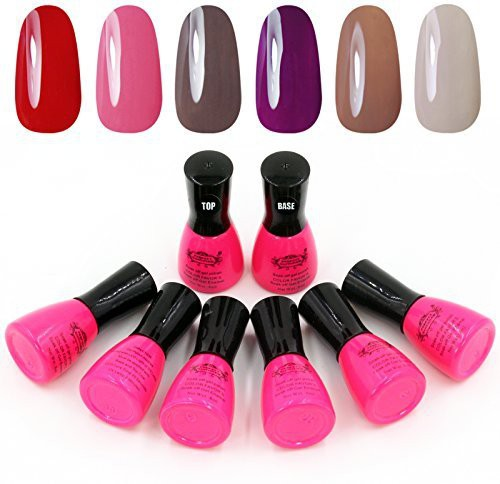 Perfect Summer Colors+Top Coat +Base Coat Uv Gel Nail 2 Dark(6 ml)