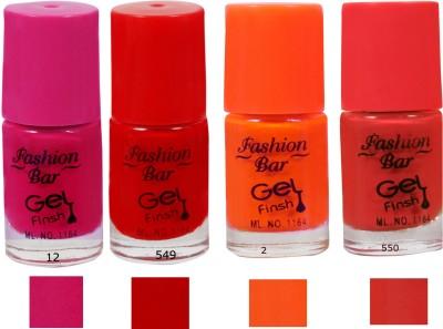 Fashion Bar Nail Polish Neon Combo Red 20 ml(Multicolor)