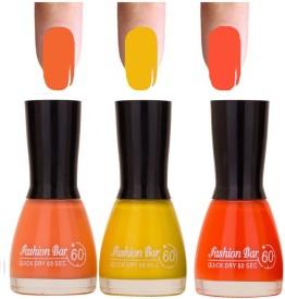 Fashion Bar Neon Orange Shades 3 of Pack Gorgeous Nail Polish Combo in 27 ml 27 ml(Pruple: pink:mehroon)