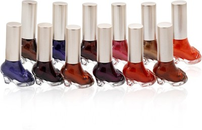 ADS BUDGET COLOR COMBINATION NAIL POLISH 12 PCS Free Liner & Rubber Band -OU 15 ml