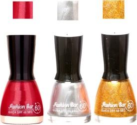 Fashion Bar Glowing Color Shades New Ultra Smooth Nail Polish Combo 1046 27 ml(SIMMER PINK ,SILVER , GOLD)