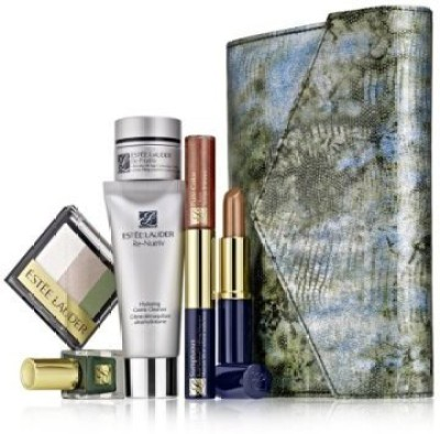 Estee Lauder Re Nutriv Makeup Skincare Gift Set With Metailic Faux Snakeskin Clutch Cosmetic Bag 15 ml