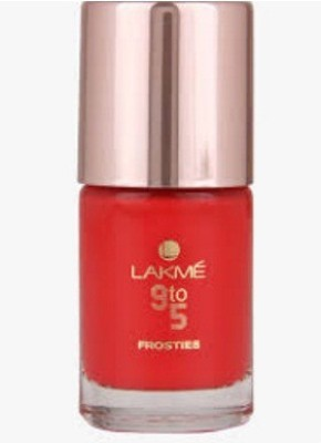 Lakme 9 To 5 Frosties Nail Color, Red Frost, 9 ml 9 ml