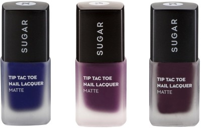Sugar TIP TAC TOE NAIL LACQUER - Break On Blue + Purple Patch + Maroon in Paradise Set Of Three 30 ml(Denim Blue, Purple Patch, Purple in Paradise Maroon)