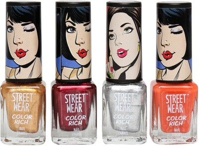 STREETWEAR CUSTOMIZED KIT (NOT SO NEON COLLECTION - COMBO OF 4 COLOR RICH NAIL ENAMEL) 20 ml