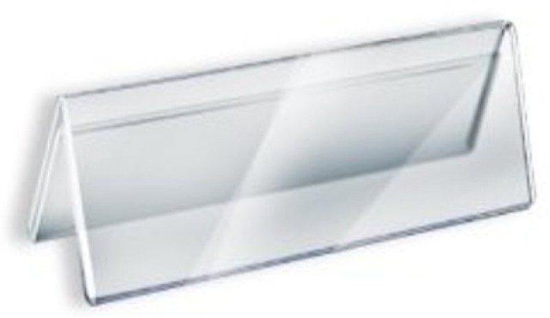 Delite V-Shape Acrylic Sign Desk Label and Paper Card Clear Name Plate Holder