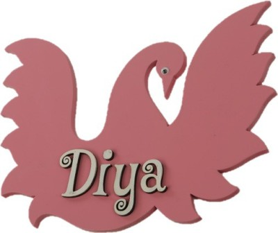 SNOWFLAKES Wooden Swan Name Plate(Pink)
