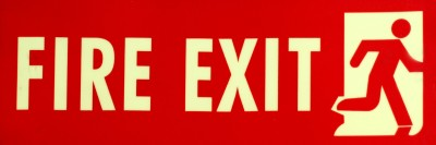 SIGNAGES Plastic FIRE EXIT SIGN IN NIGHT GLOW Name Plate