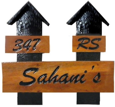 Nameplateswala Wooden Double Hut Name Plate