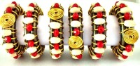 JewelKraft Designs WDR-914 Set of 6 Napkin Rings(GOLD, RED)