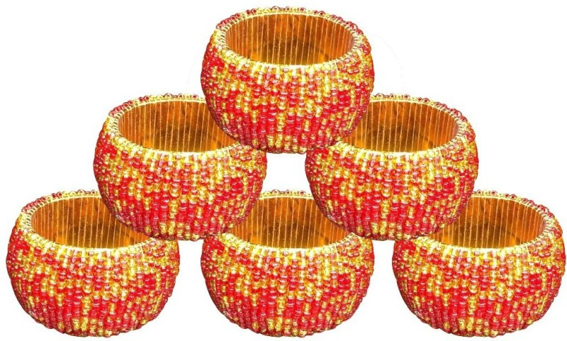 AsiaCraft NAPKINRING007-6 Set of 6 Napkin Rings(Red)
