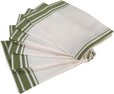 Milano Home White, Green Set of 6 Napkins