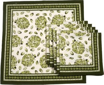 Ocean Collection White, Green Set of 6 Napkins