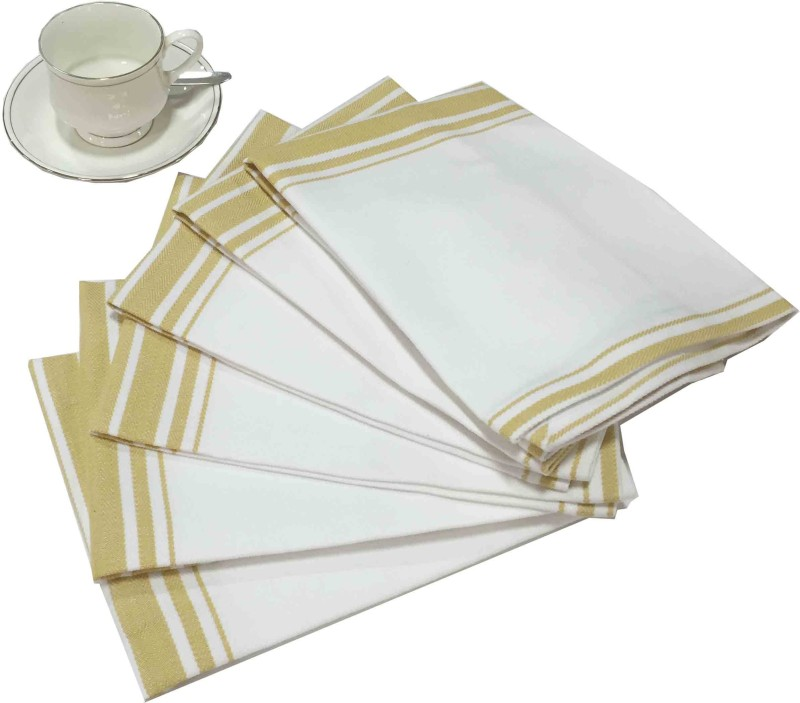 Milano Home White, Yellow Set of 6 Napkins