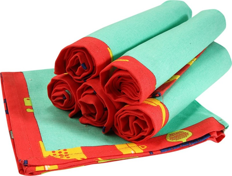 Sanjeev Kapoor Red Set of 6 Napkins