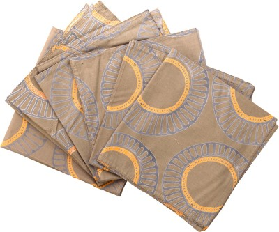 Raaga Textile Brown, Orange Set of 6 Napkins