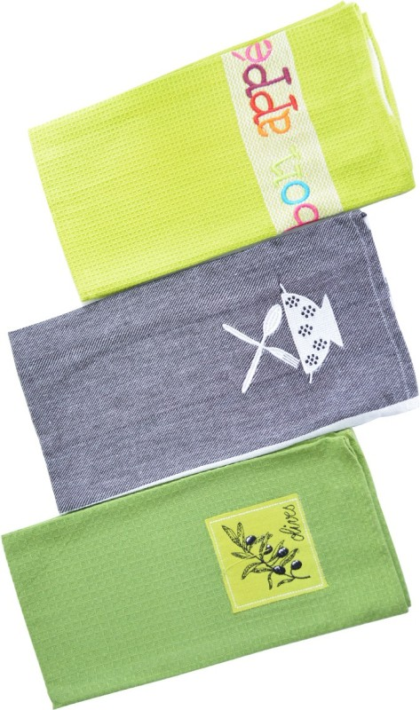 SnowFox Green, Grey Set of 3 Napkins