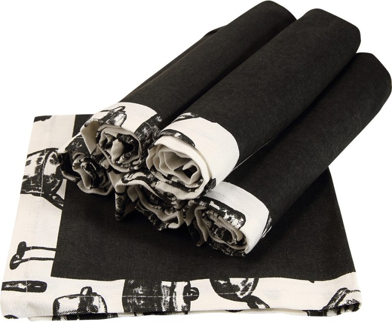 Sanjeev Kapoor Black, Grey Set of 6 Napkins