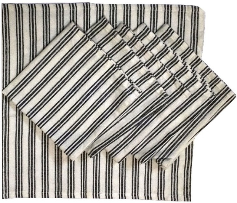 JewelKraft Designs White, Black Set of 6 Napkins