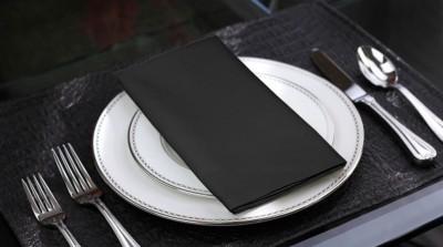 Lushomes Black Set of 6 Napkins