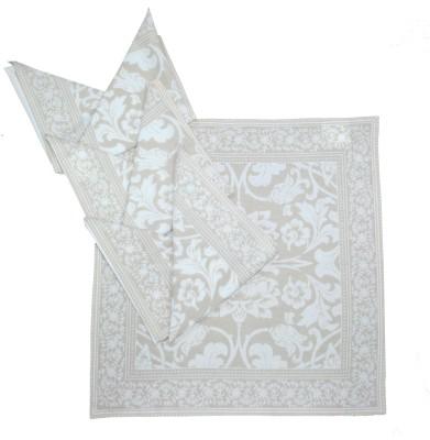 Morning Blossom Beige, White Set of 4 Napkins