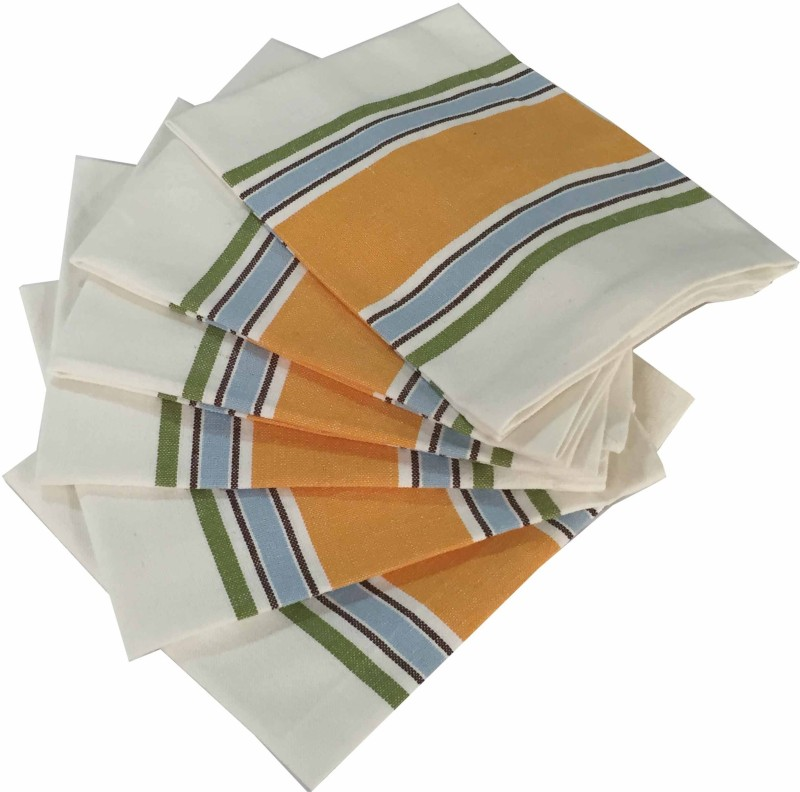 Milano Home White, Orange Set of 6 Napkins