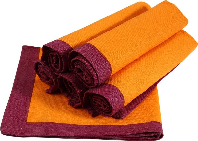 Sanjeev Kapoor Orange, Purple Set of 6 Napkins