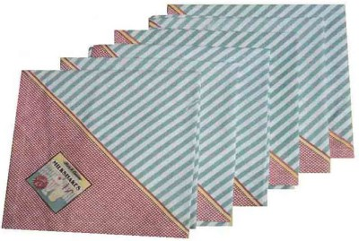 Amita Home Furnishing Blue, Pink Set of 6 Napkins