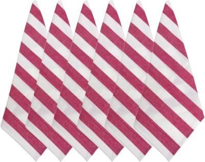 Cotonex White, Pink Set of 6 Napkins