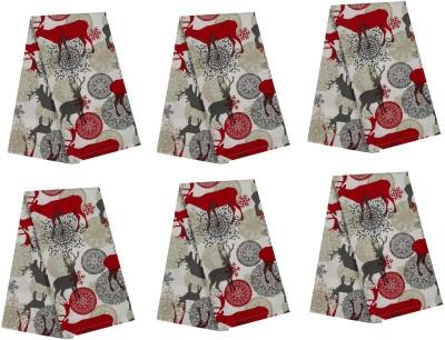 Cotonex Red, Grey Set of 6 Napkins