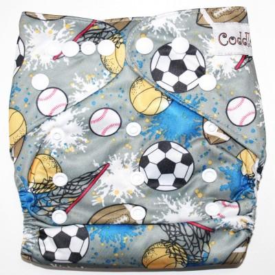 Coddle Pocket Cloth Diaper plus a Microfiber Insert- Footballs