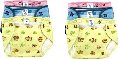 Super Baby New Just Born Inside Cotton,Outside Printed PVC Washable Reusable Diaper/Langot with Velcro (0-3Months)