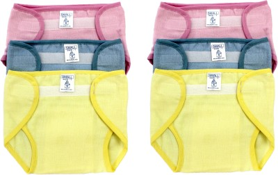 Super Baby New Just Born 100% Cotton Double Cloth Washable Reusable Padded Cushioned Diaper/Langot with Velcro,(0-3Months)