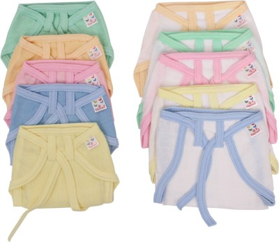 Vadmans Vadmans Tinycare Muslin Solid &Wht Piping Soft Nappy