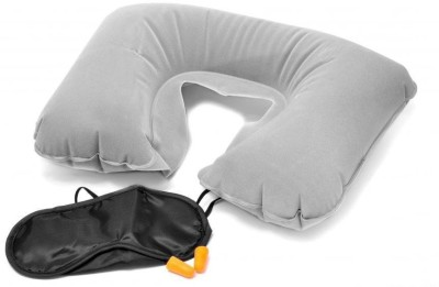 Shrih Inflatable Air Cushion, Eye Mask and 2 Ear Plug Neck Pillow