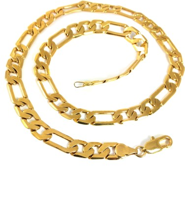 Ammvi 17.5,, Figaro Links Gold Plated Necklace For Men Brass Chain