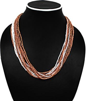 Joyeria Milan Orange And Brown Beaded Resin Necklace