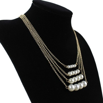 """SENECIOâ""""¢ American Style Four Layer Multi Strand Imitation Pearl Bead Rose Gold Plated Alloy Necklace"""