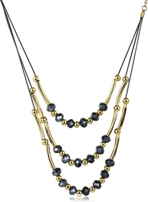 Yellow Chimes Beauty Three Strands Metal Necklace
