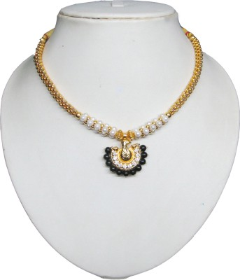 Swapnagandha Jewellery kolhapuri thushi Yellow Gold Plated Copper Necklace