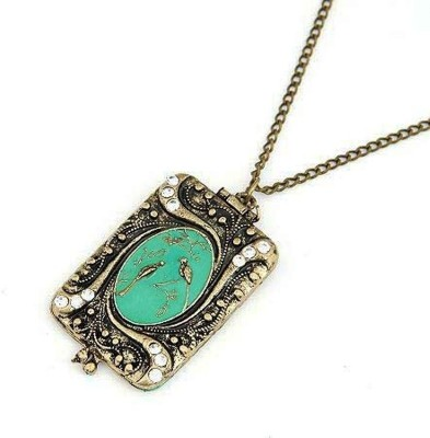 """SENECIOâ""""¢ Couple Birds In Oil Drip Blue Turquoise Frame Both Side Carved Photo Box Classical Locket Vintage Fashion Bronze Necklace"""
