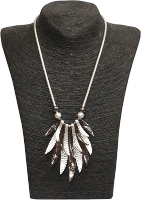 Outdazzle Designer Black & Silver Leafs Metal Necklace